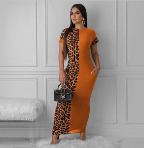 Leopard-print Full-length Dress