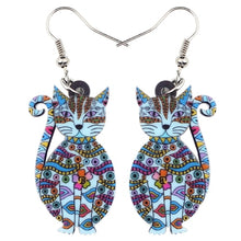 Load image into Gallery viewer, Trendy Floral Cat Dangle Earrings