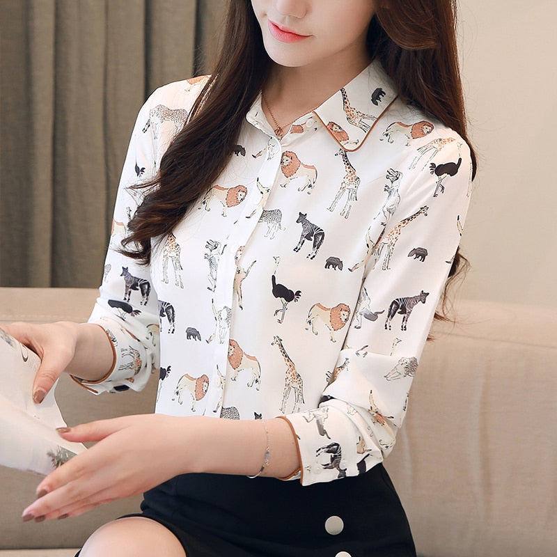 Cute Animals-Print Blouse