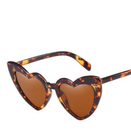Fun Animal-Print Cat-Eye Vintage Heart-shaped Sunglasses