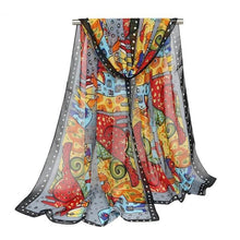 Load image into Gallery viewer, Colorfully Fun Cat & Dog Cartoon Scarf