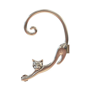 Fun Cat Post Earring With Ear Cuff