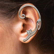 Load image into Gallery viewer, Fun Cat Post Earring With Ear Cuff