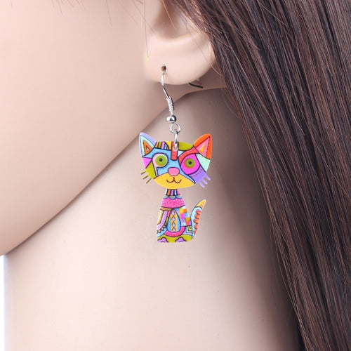 Fun and Funky Dangle Cat Earrings