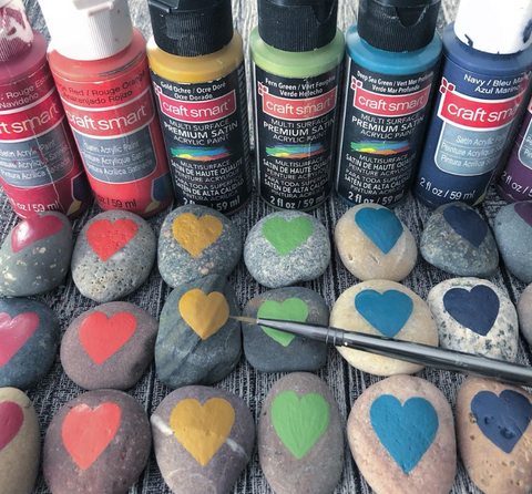 Sticks and Stones painted rock hearts