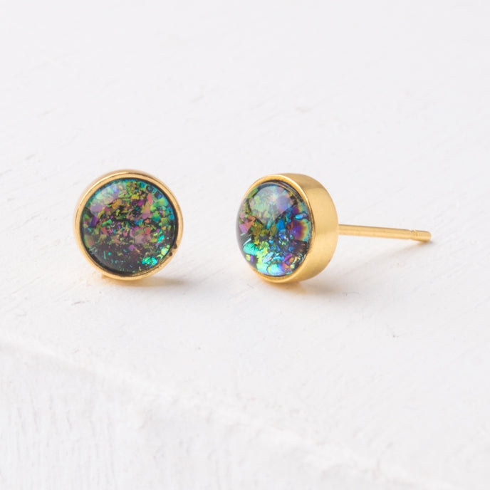 Lora Blue & Gold Studs