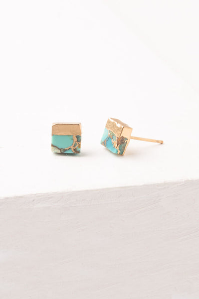 Lorena Square Turquoise Stud Earrings