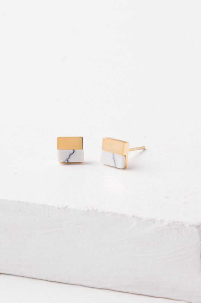 Liesl Gold & Howlite Stud Earrings