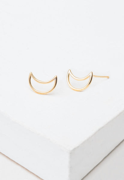 Phoenix Gold Half Moon Stud Earrings