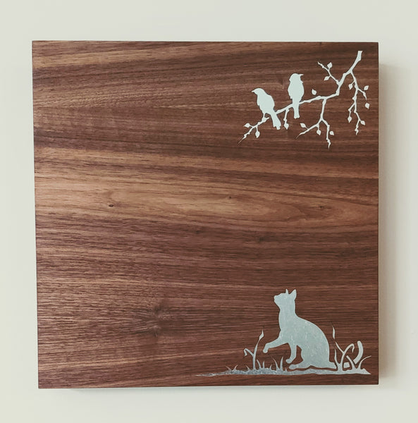 Cat with Birds Magnet Board