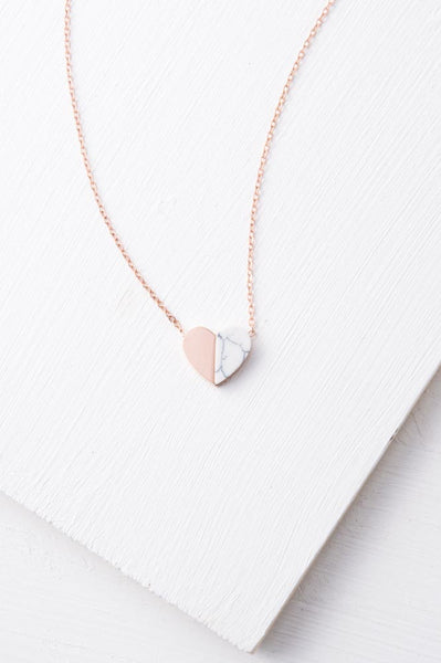 Alexis Rose Gold & Howlite Heart Necklace
