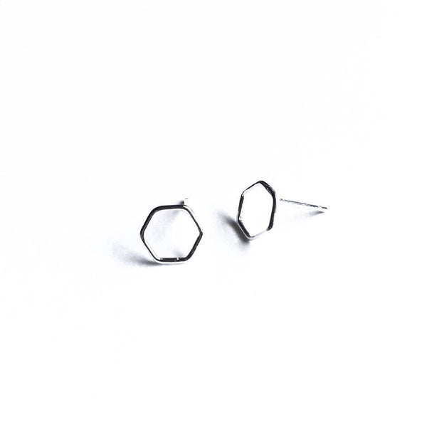 Simple Shapes Stud Earrings - Hexagon