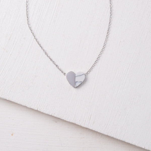 Alexis Silver and Howlite Heart Necklace