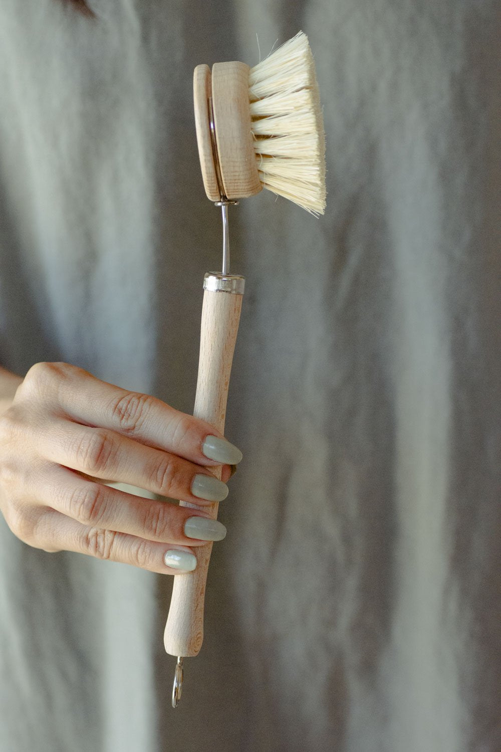 Dish Brush - White Teakwood & Agave with Replaceable Head