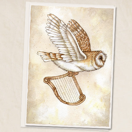 Owl with Harp Greeting Card