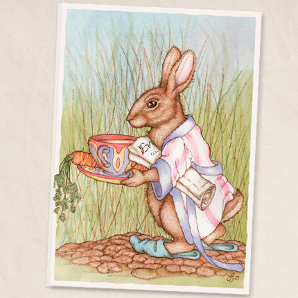 Rabbit with a Cuppa Greeting Card