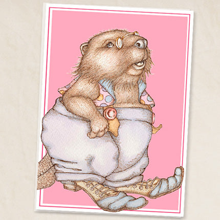 Beaver Moderne Greeting Card