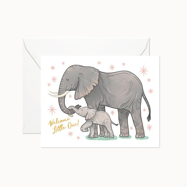 Welcome Little One Elephants Card