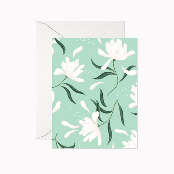 Mint Blooms Blank Card