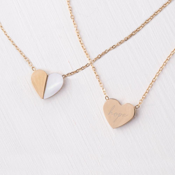 Give Hope Gold & Mother of Pearl Heart Necklace