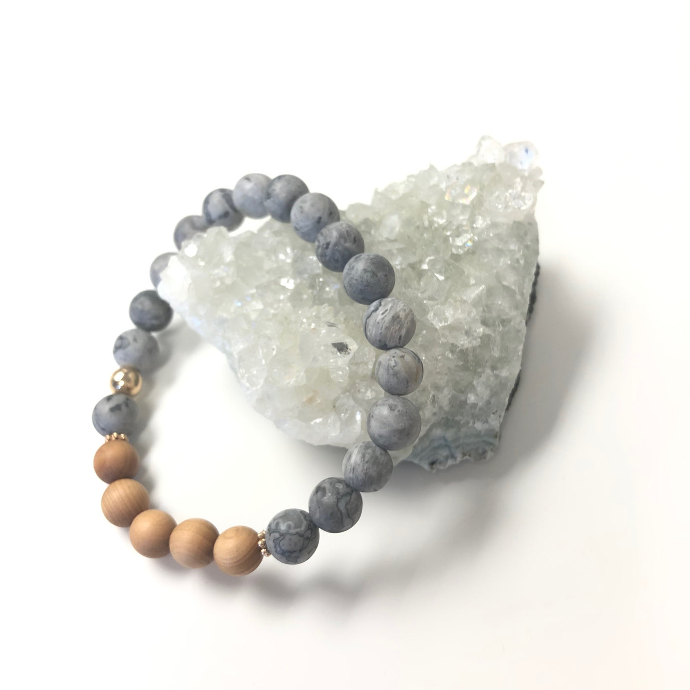 Grey Jasper and Sandalwood Bracelet