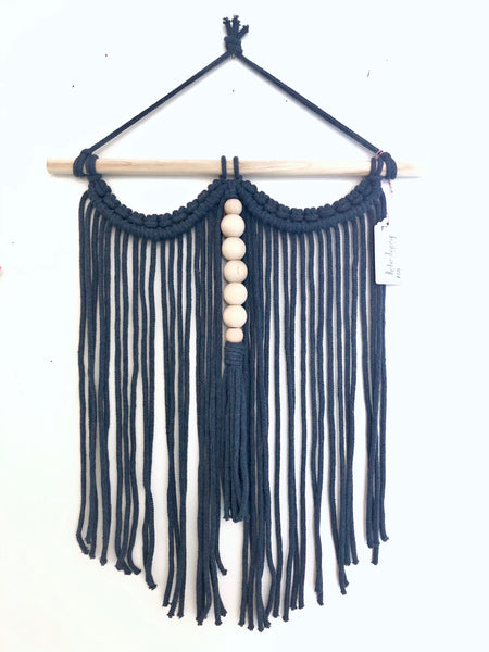 Navy Blue Macrame Wall Hanging