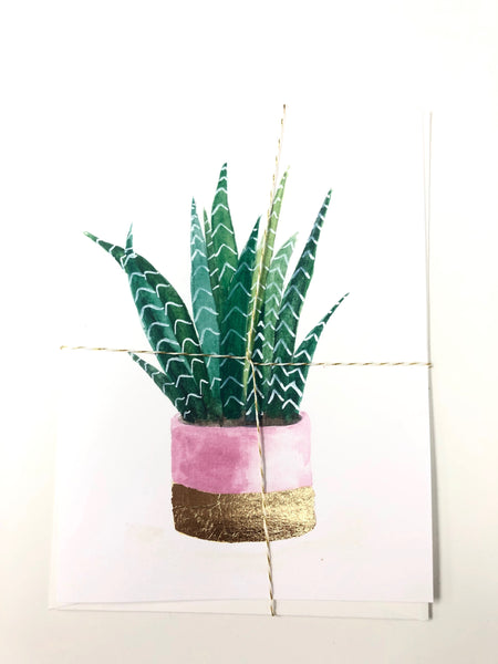 Aloe Vera in Pink Pot Greeting Card