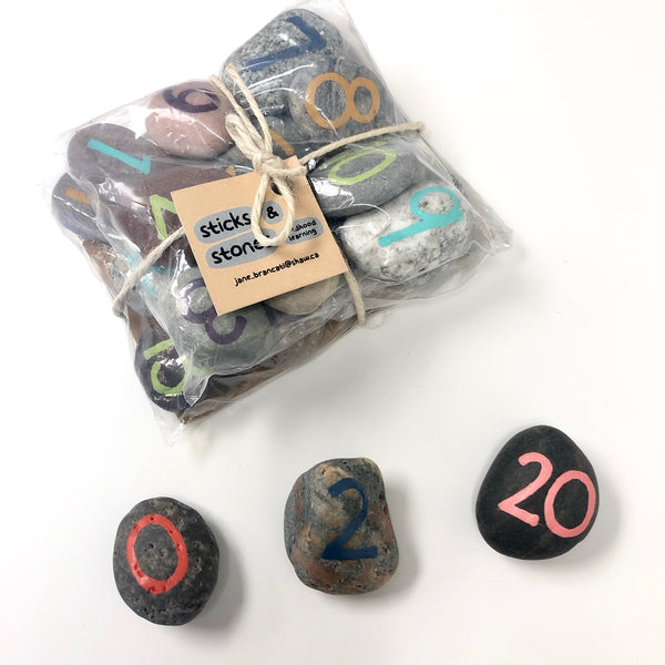 Hand Painted Stone Numbers Set