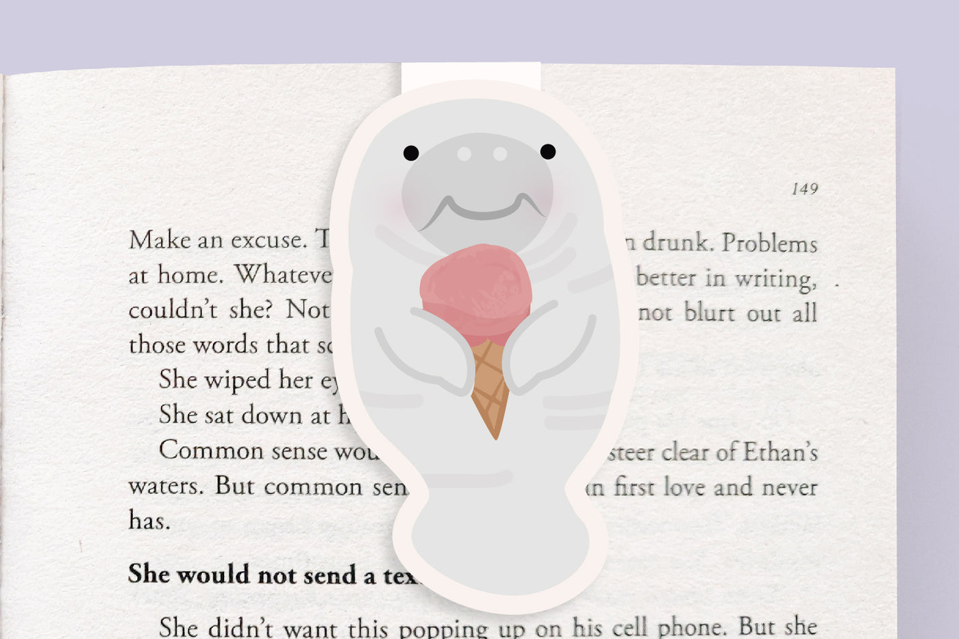 Manatee Eating Ice Cream Magnetic Bookmark