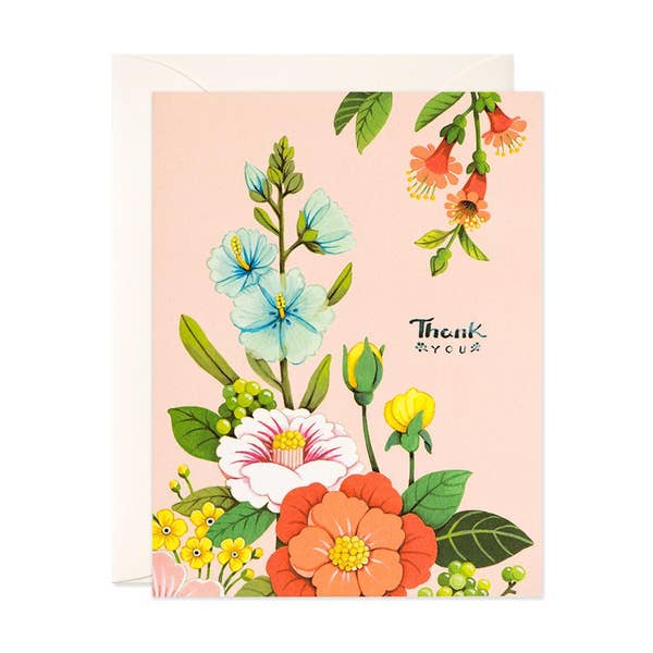 Pink Florals Thank You Card