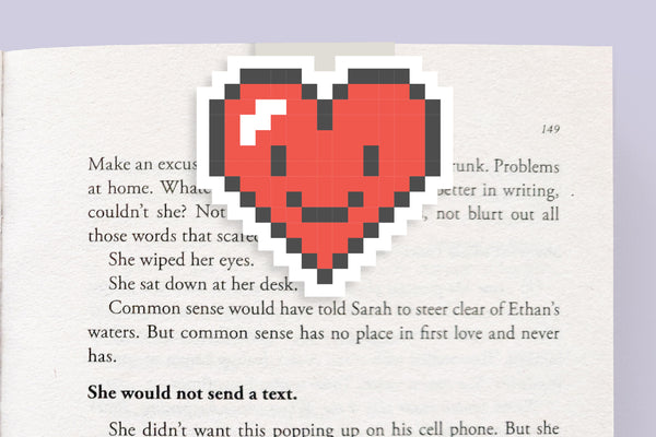 Pixel Heart Magnetic Bookmark
