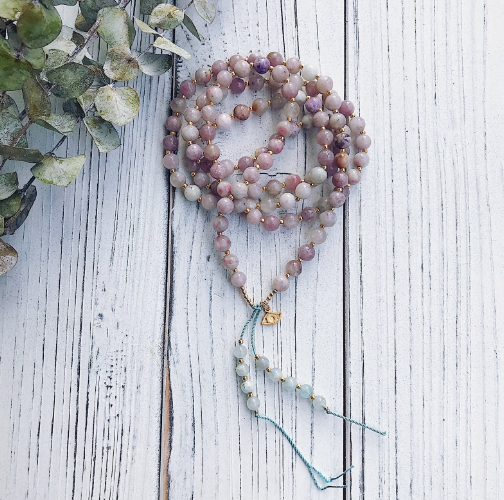 Lilac Jasper + Beryl Mala Necklace