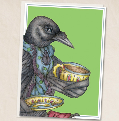 Leah Schell - Crow with Tea Greeting Card