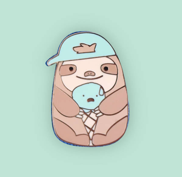 Sloth eating Ice Cream Enamel Pin