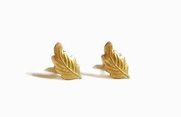 Tiny Brass Leaf Stud Earrings