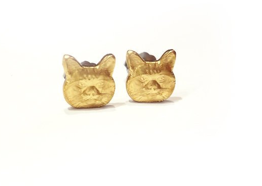Grumpy Cat Stud Earrings