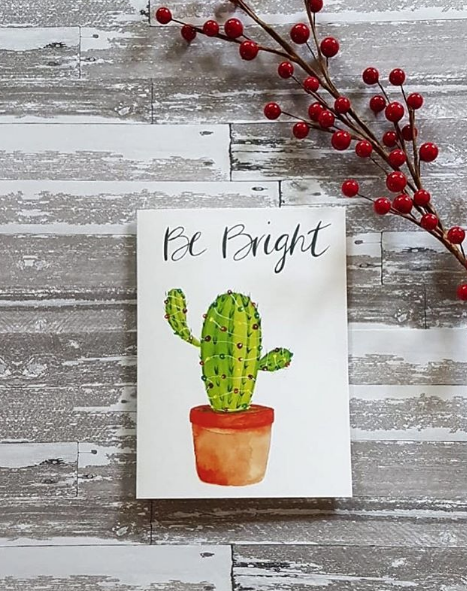 Be Bright Cactus Greeting Card