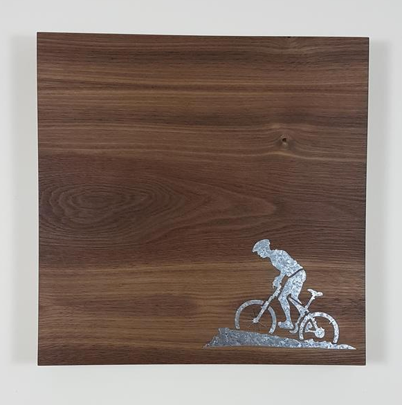 12x12 Walnut Veneer Magnet Board - Cyclist