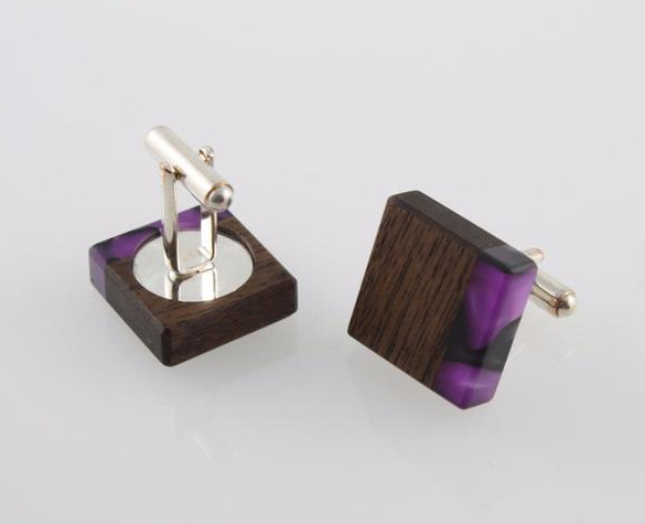 Wood Cufflinks with Acrylic Detail