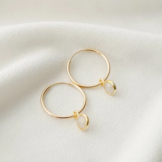 Valais Gemstone Hoop Earrings - Gold
