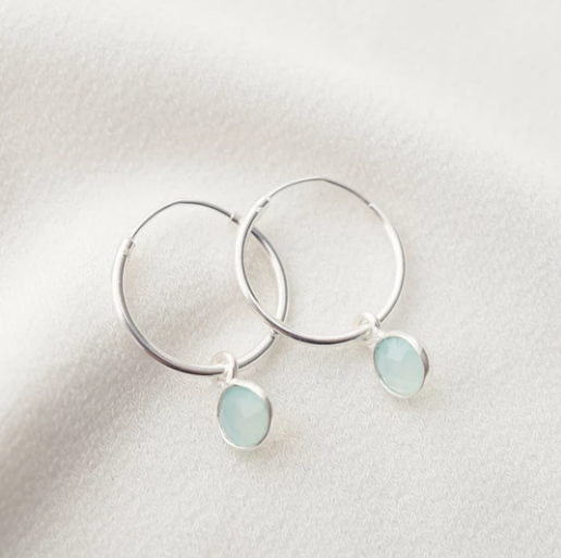 Valais Gemstone Hoop Earrings - Silver