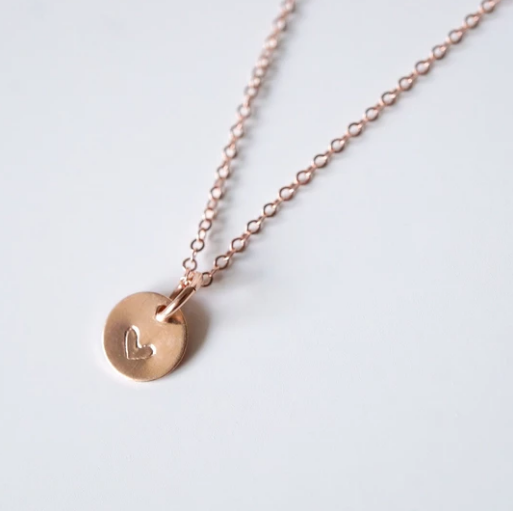 Tiny Rose Gold Heart Coin Necklace