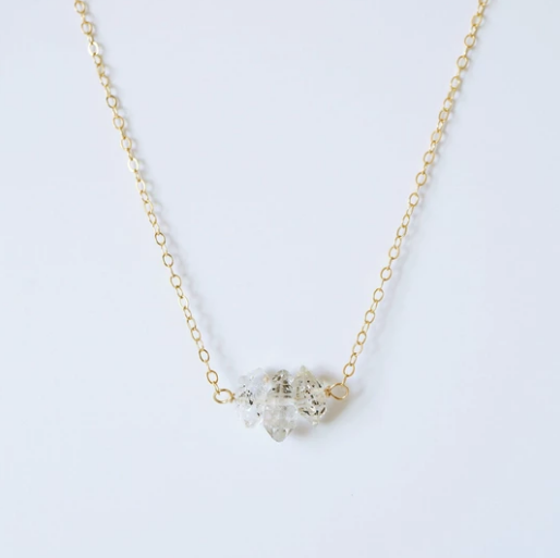 Herkimer Diamond Trio on Rose Gold Necklace (Camila)