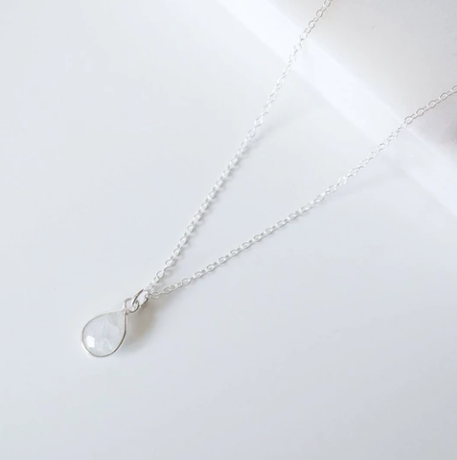 Isla - Teardrop Sterling Silver Gemstone Necklace