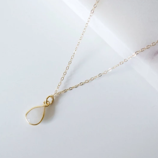 Isla Teardrop Gemstone Necklace - Gold