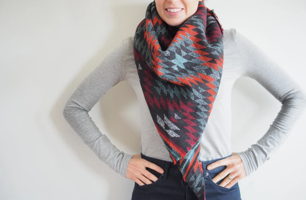 Orange, Red, Mint and Black Southwest Triangle Blanket Scarf
