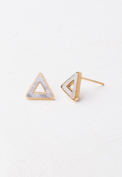 Gina Mother of Pearl & Gold Triangle Studs
