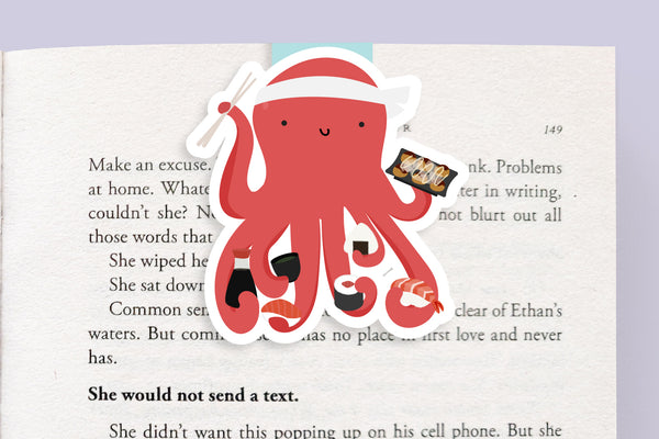 Octopus Eating Sushi Books Magnetic Bookmark