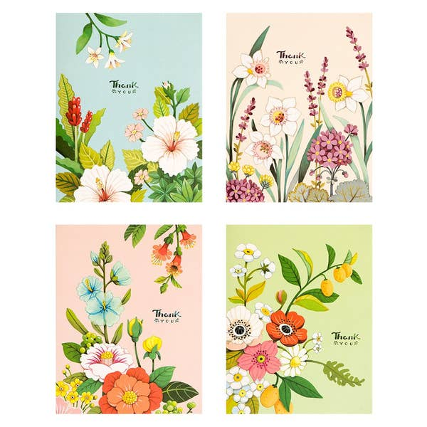 Pastel Botanicals Thank You Cards - Boxed