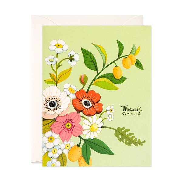 Green Florals Thank You Card